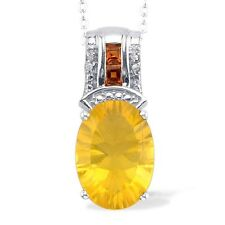 Canary Yellow Fluorite (Ovl 6.50 Ct) Citrine,Diamond,Sterling  Silver Chain 20in