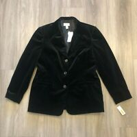Talbots Womens Size 16 Black Velvet 3 Button Blazer Jacket 100 Cotton NWT