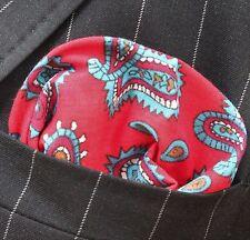 Hankie Pocket Square handkerchief Red / Blue Paisley - Premium Cotton - UK Made