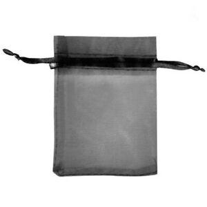 10pcs Drawstring Organza Bags Jewelry Pouches Wedding Party Gift Bag Black