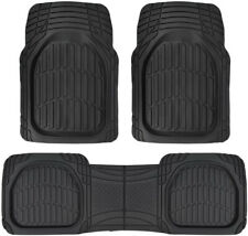 Deep Dish Heavy Duty Rubber Car Floor Mats 3pc Front Rear in Black All Weather