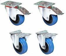 4 x 100mm QUALITY Flight Case Castors. Blue Wheel. 2 (Swivel) Braked/2 Fixed*