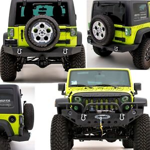 Rock Crawler Full Width Front+Rear Bumper+Fog Light Hole for 07-18 Jeep Wrangler