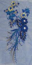 "16"" Blue 3D Embroidery Sequin Rhinestone Flower Sewing Appliqué Trim"