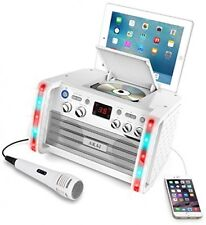 KS213W Portable CD and G Karaoke System With Tablet Cradle, White