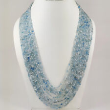 NATURAL AQUAMARINE GEMSTONE 3 MM ROUND FACETED BEADS 10 STRAND NECKLACE