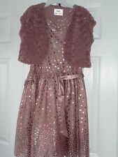 Nwt Justice Pink Gold rose formal party Easter dress sz 16