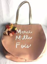 Anthropologie Merci Mille Fois Scripted Shoulder Tote Handbag XL