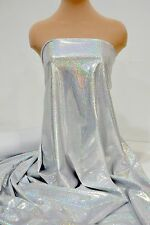 LYCRA SPANDEX FABRIC SILVER WHITE HOLOGRAM  4 WAY STRETCH GYMNASTICS, DANCE BTY