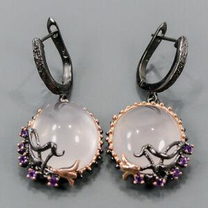 One of a kind SET Rose Quartz Earrings Silver 925 Sterling   /E57458