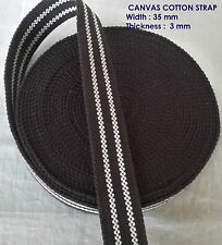 35mm cotton Tape Canvas BROWN Base White Line webbing Bunting strap x 1 yard