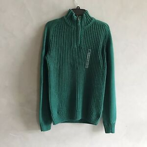 NWT Timberland Men's Quarter Zip Mockneck Cotton Sweater Green Size S M L New