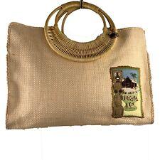 "FOSSIL FOREVER ""Polynesia"" Natural Tan Raffia Cane Handle Handbag"