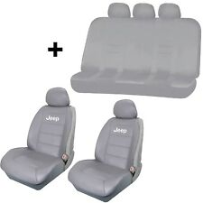 2pc Gray Synthetic Leather Sideless Seat Covers & Free Universal Bench for Jeep