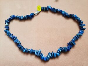 """Hand- Made GENUINE * LAPIS * NECKLACE 17"""" Long - Made in USA"""