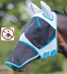 Bridleway Full Face Mesh Fly Mask With Ears & Nose With Eye Protection Darts