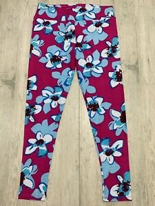 Lularoe TC Leggings BRAND New Fuschia W Blue Flowers