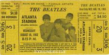 1  BEATLES VINTAGE UNUSED FULL CONCERT TICKET 1965 Atlanta, GA yellow laminated