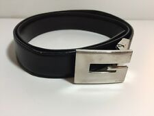 GUCCI Black leather belt with Silver G buckle Adjustable 32-34""