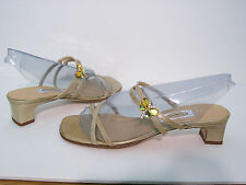 NEW Talbots Ladies Patent Leather Sandals Shoes Med Heel Crystal Butterfly 5.5B