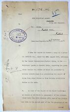India 1913 Opium letter signed by the Political Agent – 2pgs