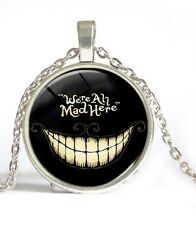 Alice In Wonderland Cheshire Cat Glass Art Pendant We're All Mad Here Necklace
