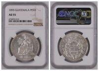 NGC Guatemala 1895 Un Peso Seated Liberty Silver Coin Nice Lustre AU55