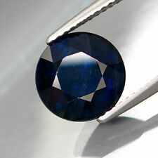 RARE 5mm ROUND-FACET DEEP MIDNIGHT-BLUE NATURAL AFRICAN SAPPHIRE GEMSTONE