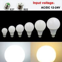 E27/B22 3W 5W 7W 9W 12W 15W LED Light Globe Bulb No flicker Lamp AC/DC 12-24V #T