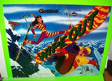 Gottlieb WIPE OUT 1993 Original NOS Pinball Machine Translite Snowboared Skiing
