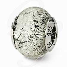 REFLECTIONS STERLING SILVER BLACK/SILVER MURANO GLASS BEAD