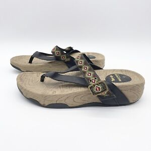 Skechers Tone-Ups  Embroidered Thong Sandals Aztec Southest Print #38849 Size 9