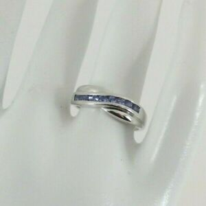 9ct Gold Tanzanite Ring Band White Eternity NEW Hallmarked Size O  with Gift Box
