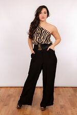 vintage tiger print one shoulder ruffle palazzo wide leg jumpsuit