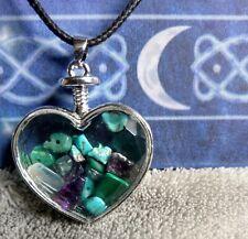 pain Management Crystal Healing heart wishing bottle turquoise fluorite malachit