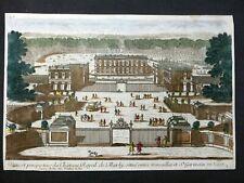 Gravure couleur début 18e Pierre Aveline  Château de Marly (vue depuis l'entrée)