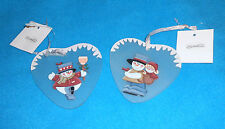 Set of 2 THT Designs Heart Shaped Hand Painted Glass Ornaments - NEW w/Tags