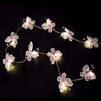 Pair of Battery Operated Pink Butterfly Girls LED Chain Fairy String Lights Set