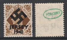 GB Jersey 3607 -1940 Swastika Overprint forgey om genuine 1s stamp unmounted