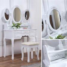Schminktisch mit Hocker Kosmetiktisch Frisierkommode Spiegeltisch Spiegel Weiss