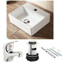 CLOAKROOM SQUARE WALL HUNG / COUNTERTOP BASIN SINK WHITE CERAMIC 330X290 + TAP