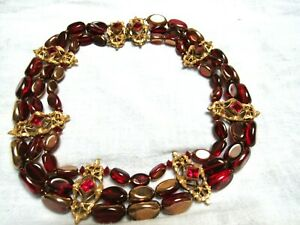 50's Signed Eugene 3 Strand Red Glass Gold Choker Necklace Stunning! Excellent