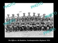 OLD HISTORIC MILITARY PHOTO OF NORTHAMPTONSHIRE REGIMENT 4th BATTALION 1934