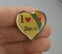 Vintage I Love Dave Heart Rainbow 1980's pin button pinback *EE93