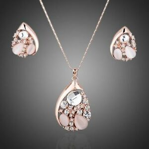 Shiny Nude Pink  Rose Gold Plated Pendant Chain Necklace Earrings Jewellery Set