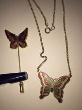 Cloisonne Butterfly Necklace And Pin Lot