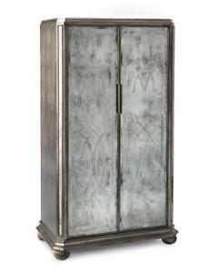 """63.5"""" T Cabinet Etched Mirror Front Glass Double Doors Three Adjustable Shelves"""