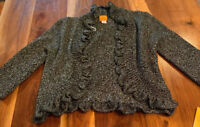 Ruby Rd Women's Black Silver Front Ruffle Cardigan Sweater Size L New NWT