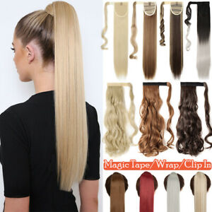 Real Thick Wrap On Ponytail Clip In Hair Extensions Natural As Human Pony tail