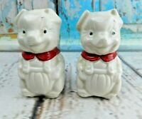 Vintage White Puppies With Red Bow Standing Up Ceramic Salt And Pepper Shakers